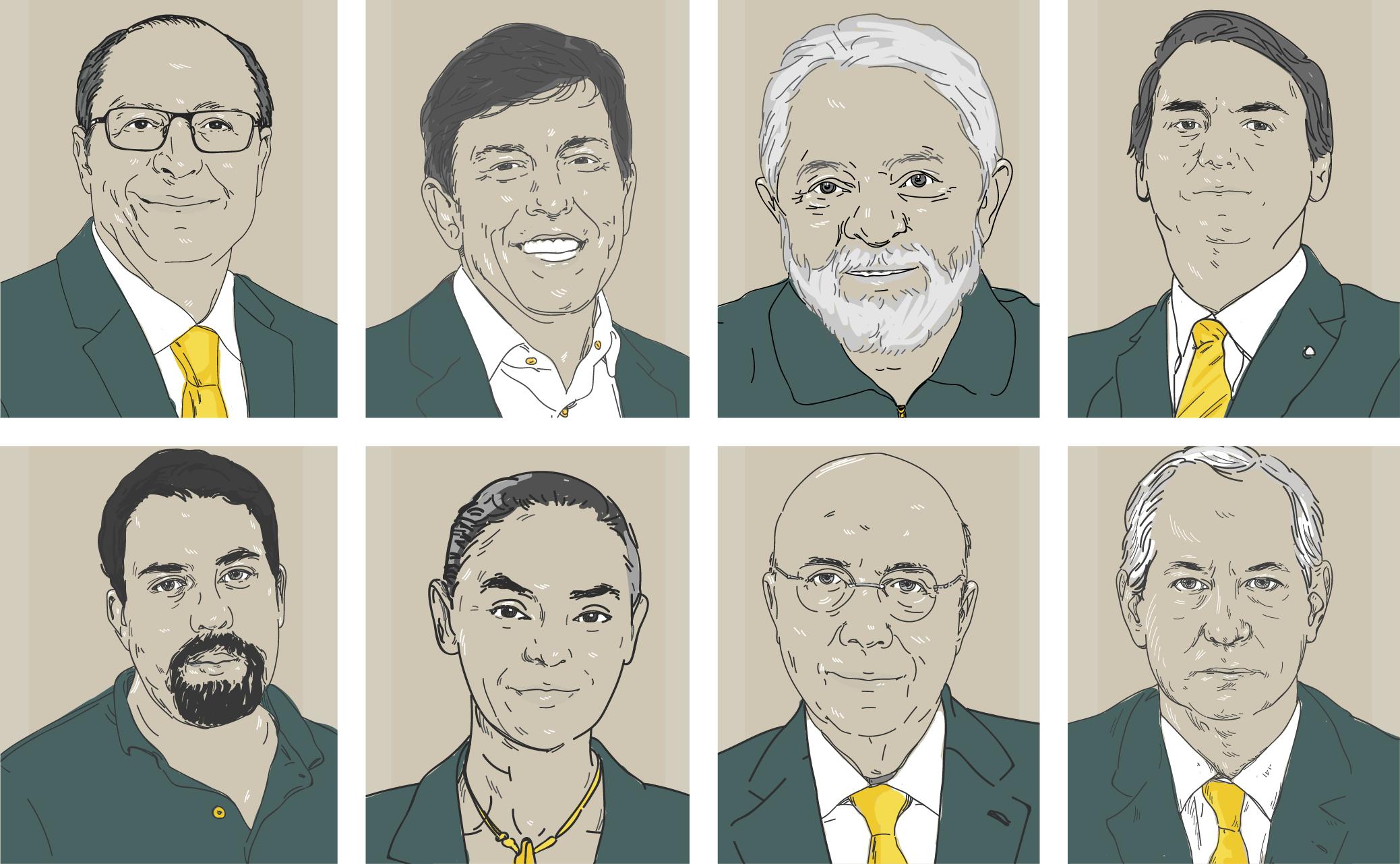 Ilustração de candidatos à presidência da República em 2018