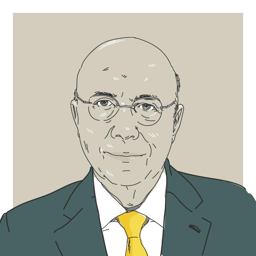 Ilustração digital do candidato a presidência Henrique Meirelles