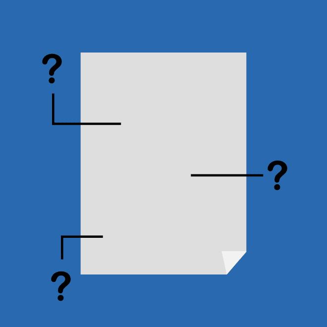 Ilustração de documento com itens destacados com interrogação