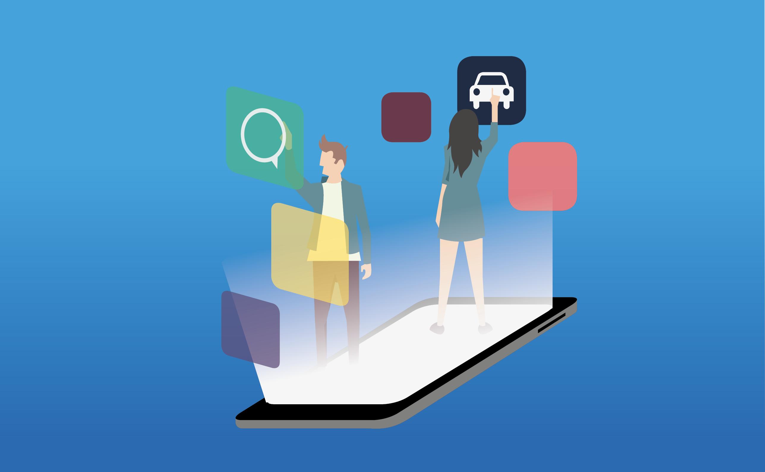 Ilustração com dois jovens acessando aplicativos no celular
