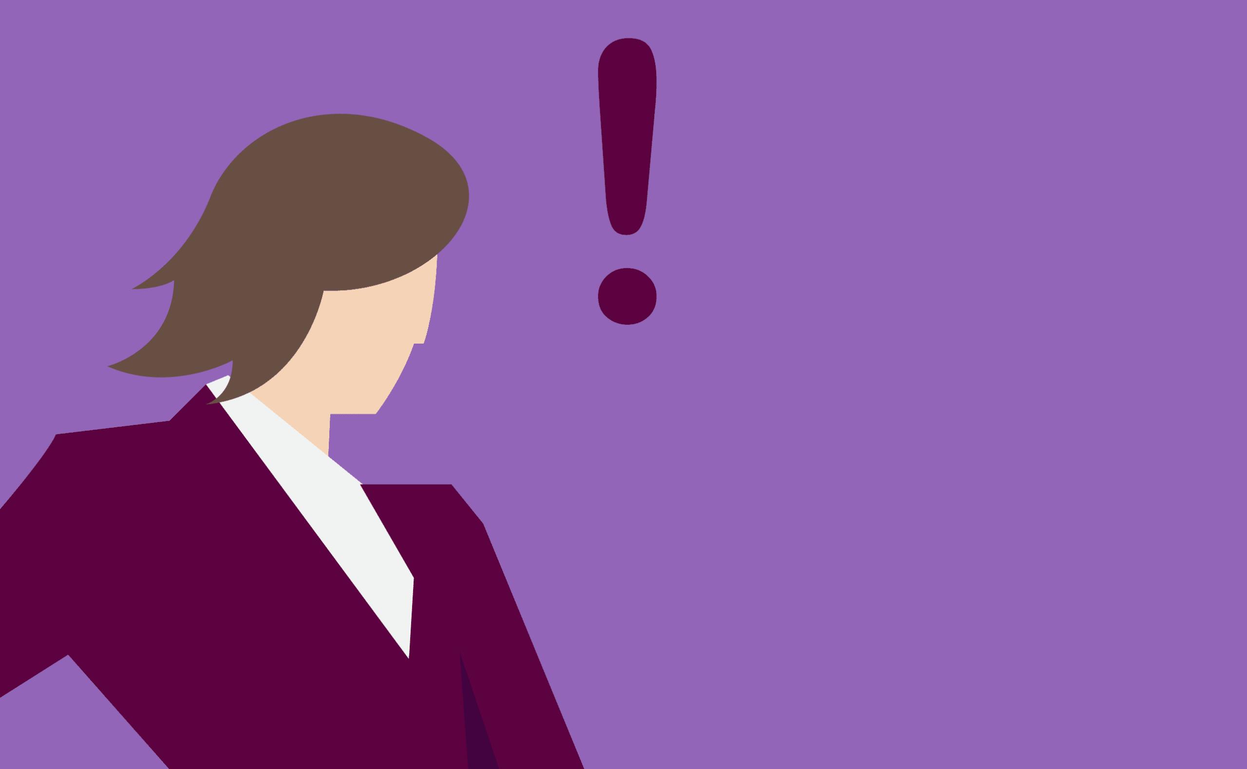 Ilustração de mulher parada num fundo roxo com um ponto de exclamação ao lado da cabeça