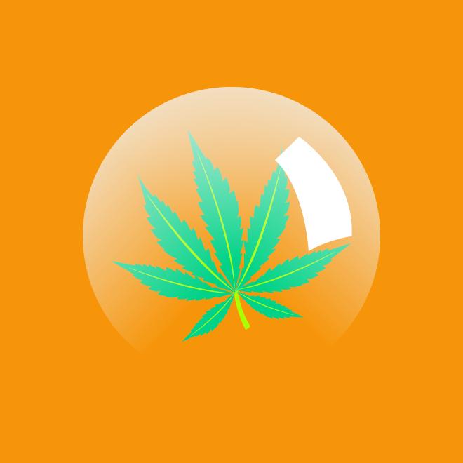 Folha de maconha dentro de uma bolha semi transparente em um fundo laranja.