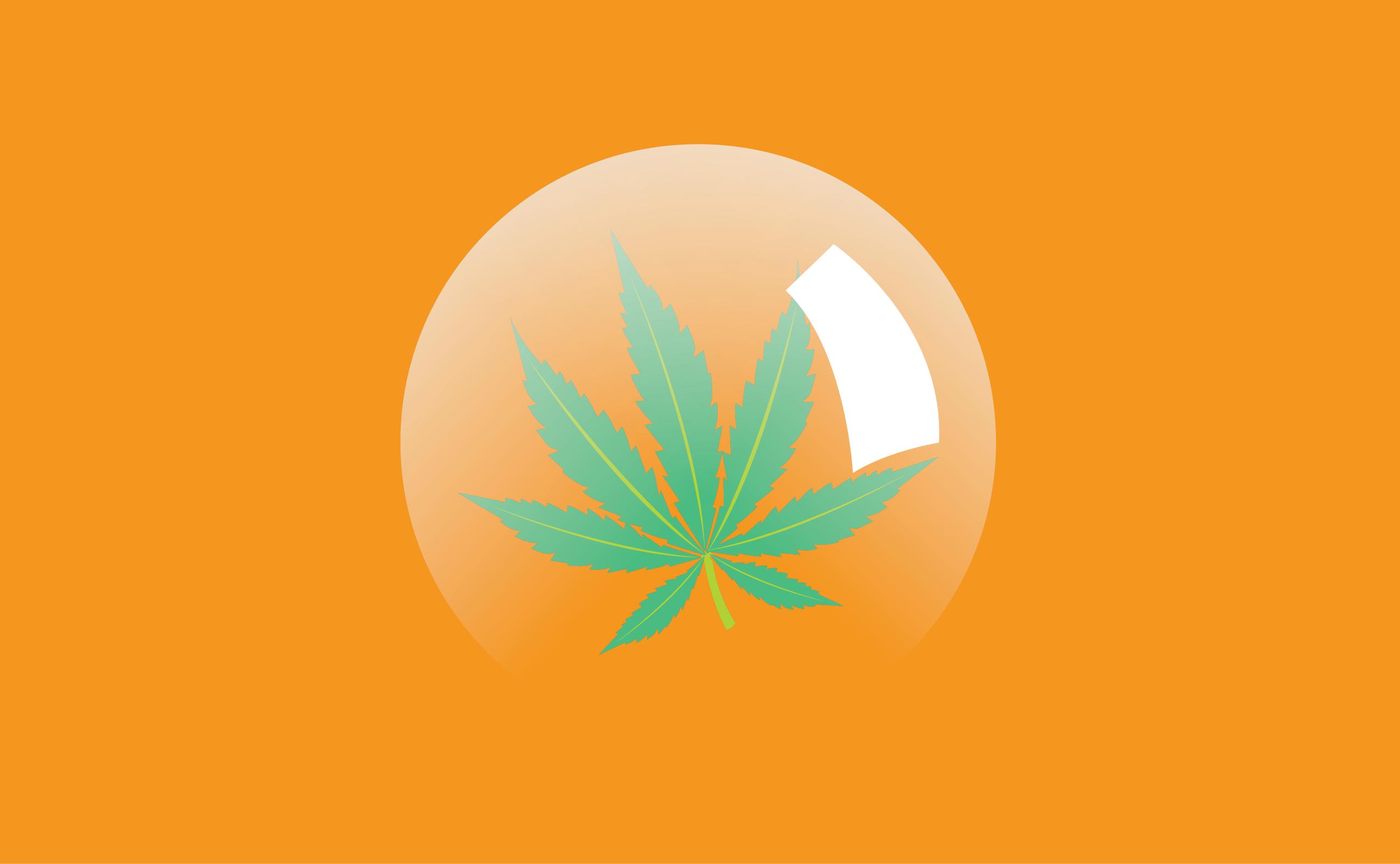Ilustração de folha de cannabis dentro de uma bolha semitransparente em um fundo laranja