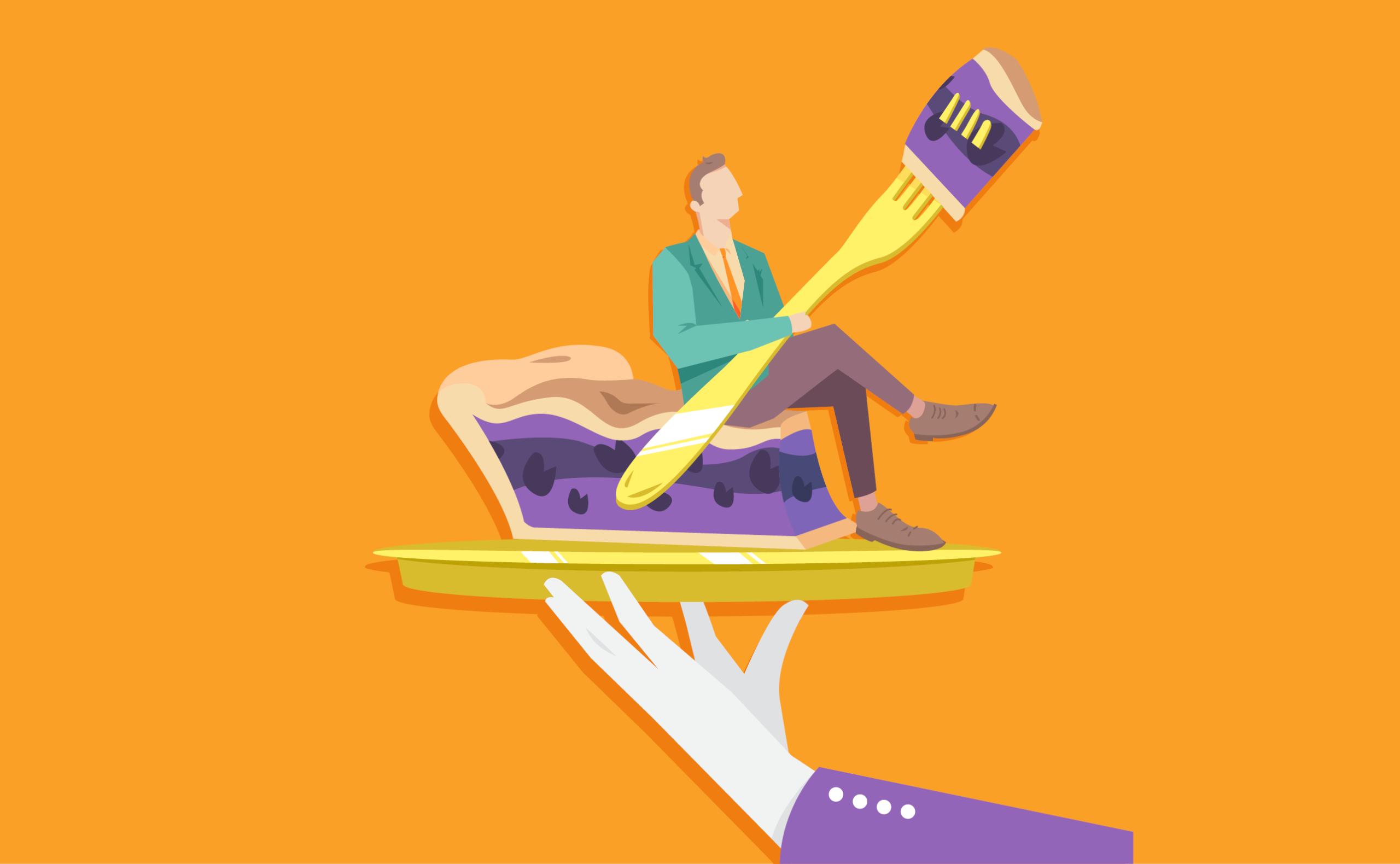 Ilustração de um braço segurando um prato com um homem sentado em cima de uma torta segurando um garfo