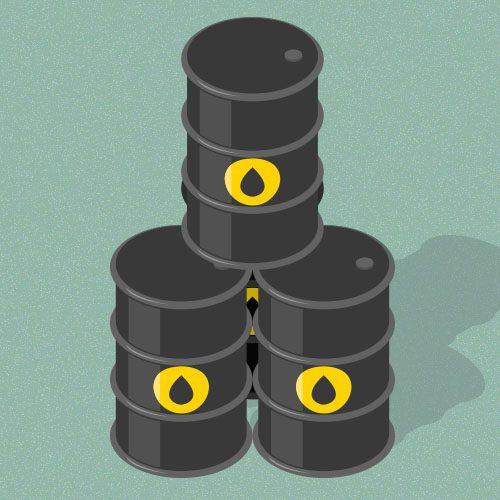 Ilustração mostra três barris de petróleo empilhados